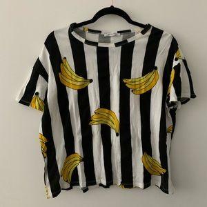 Zara Banana Print Referee Tee